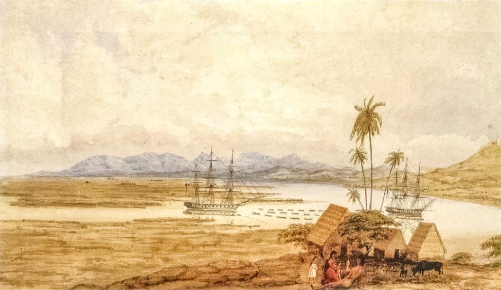 Entrance to port of Honolulu 1827