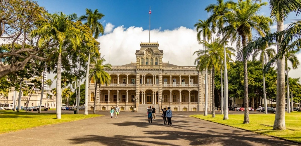 Iolani Palace Entrance Road Visitors
