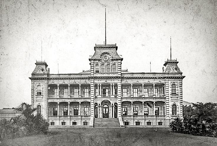 Iolani Palace in 1885 Bishop Museum image