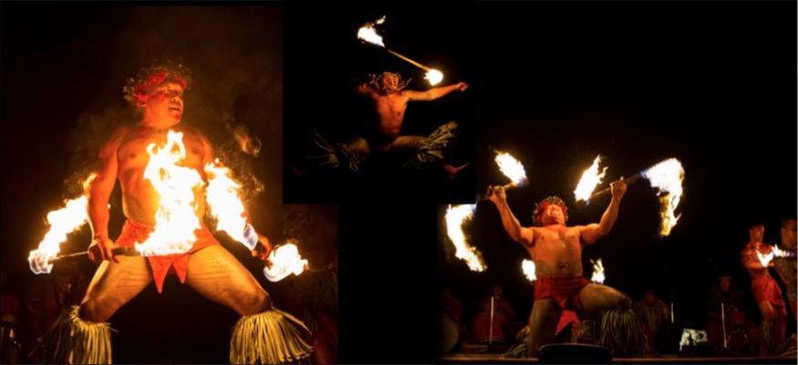 Three fire dancers luau