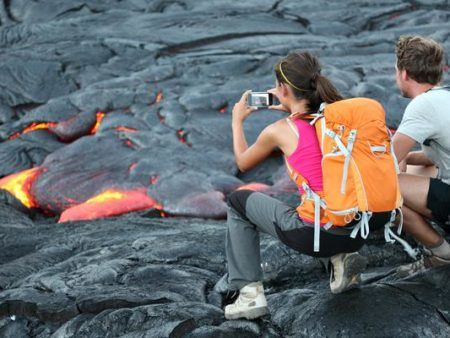 Hawaii lava tourist.