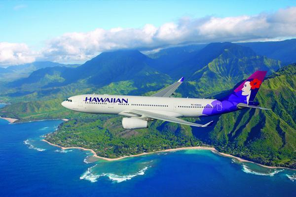 Hawaiian Airlines plane over coastline