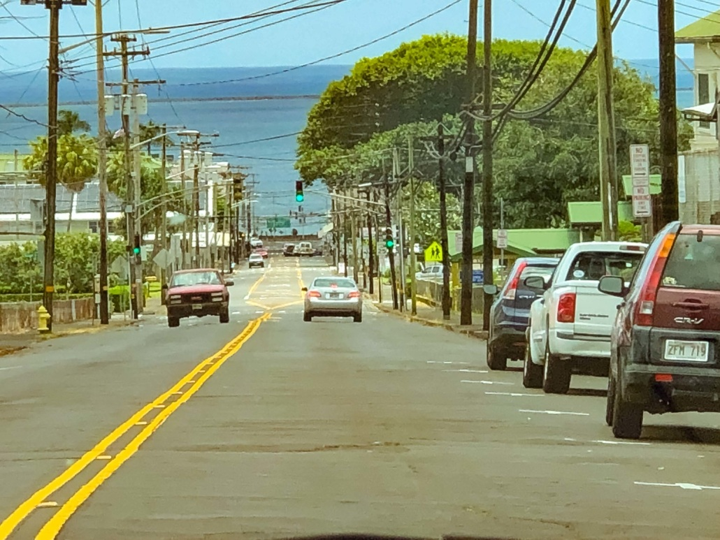 Hilo town Street to Ocean Big Island