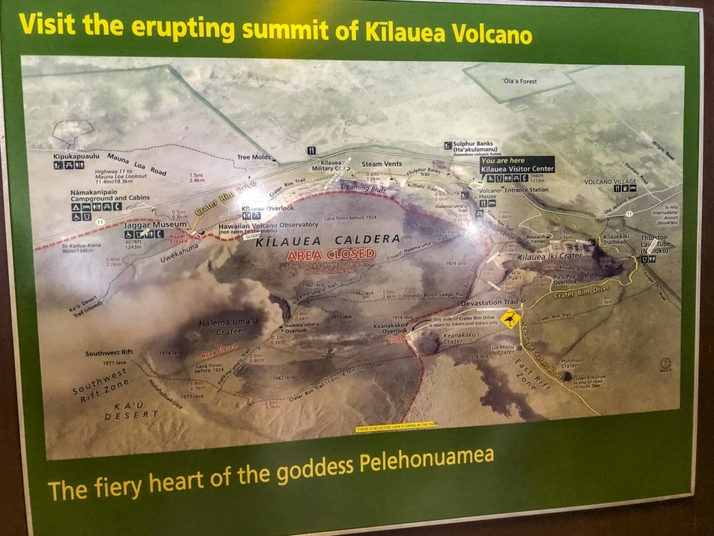 Kilauea Info Sign in Visitor Center at Volcanoes National Park Big Island