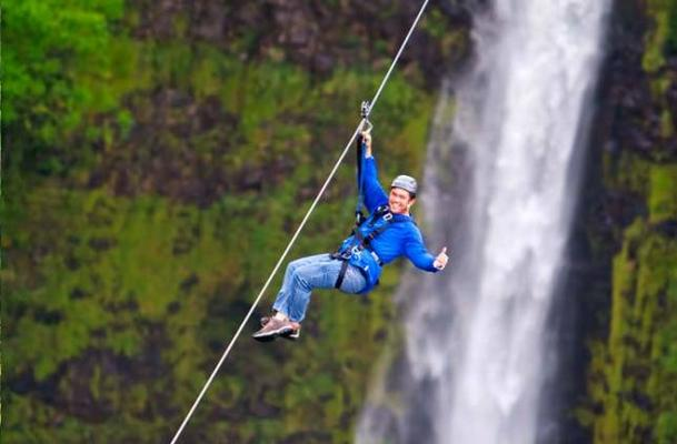 Hawaii Zipline over waterfall