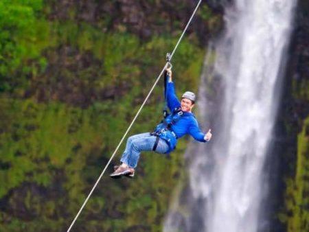 Hawaii Zipline over waterfall