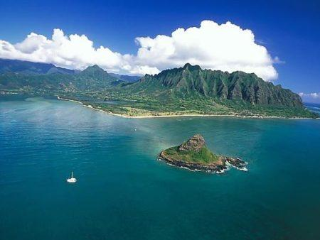 Chinamans Hat Aerial Windward Oahu