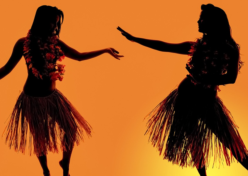 Hula Dancers Sunset Luau EX