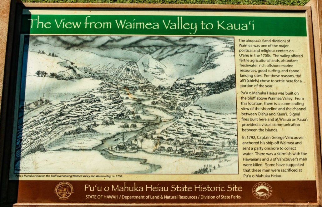 North Shore Ancient History Heiau Sign Waimea Oahu