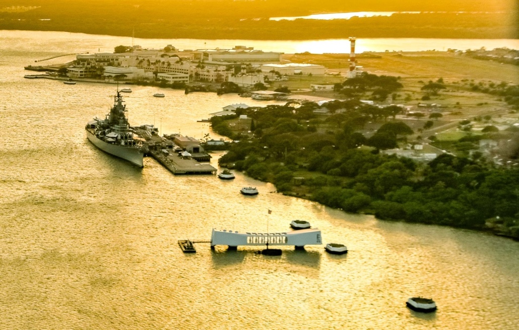 Pearl Harbor Aerial Sunset USS Missouri and Arizona Memorial Oahu