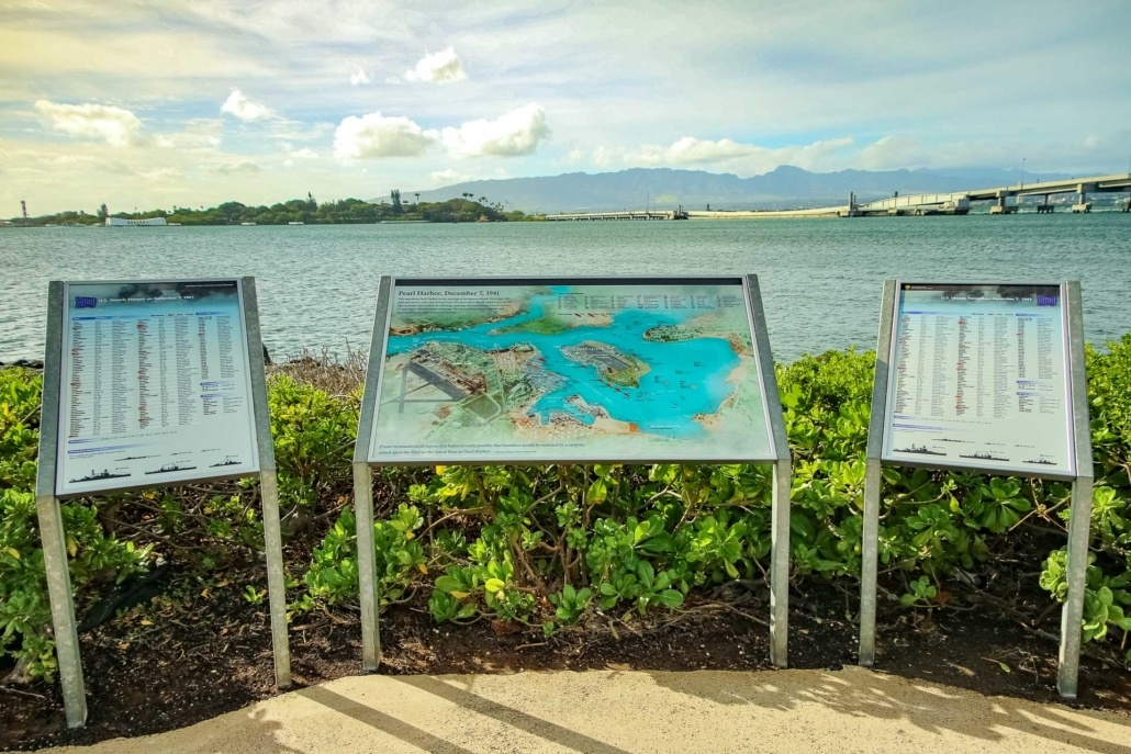 Pearl Harbor Visitor Center Outside Plaque of Harbor Oahu