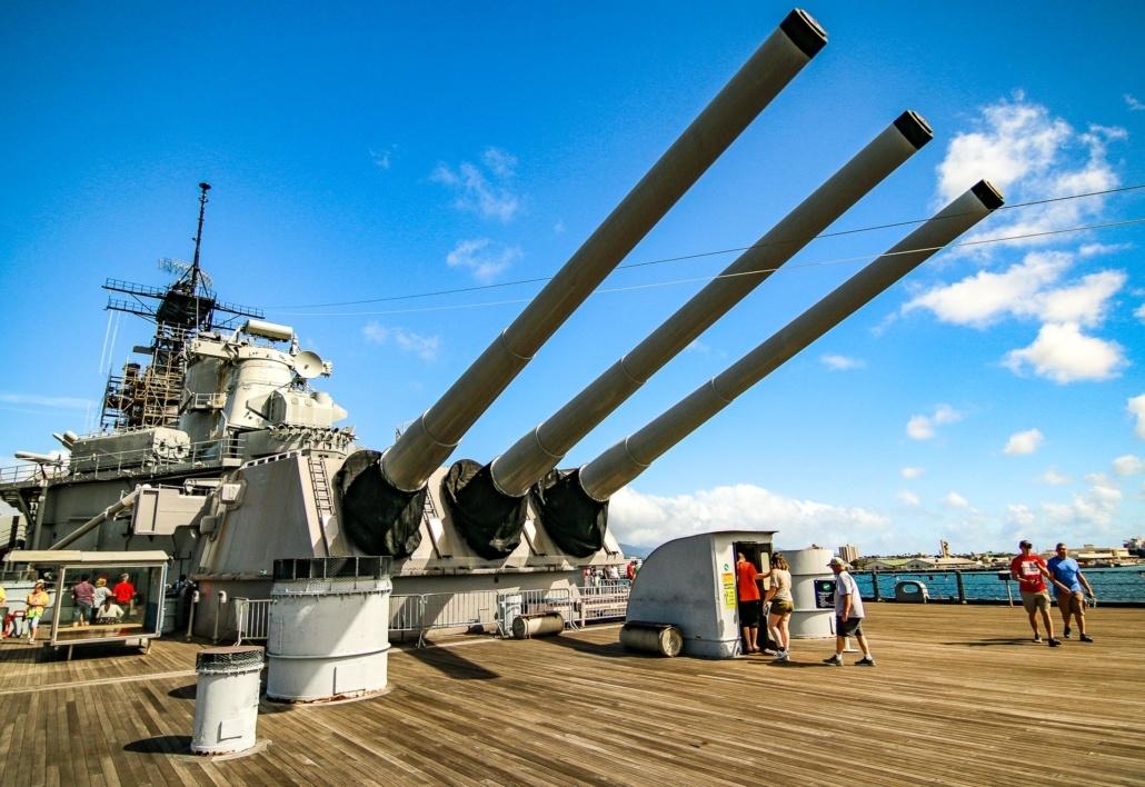 USS Missouri Deck Guns and Visitors Pearl Harbor Oahu