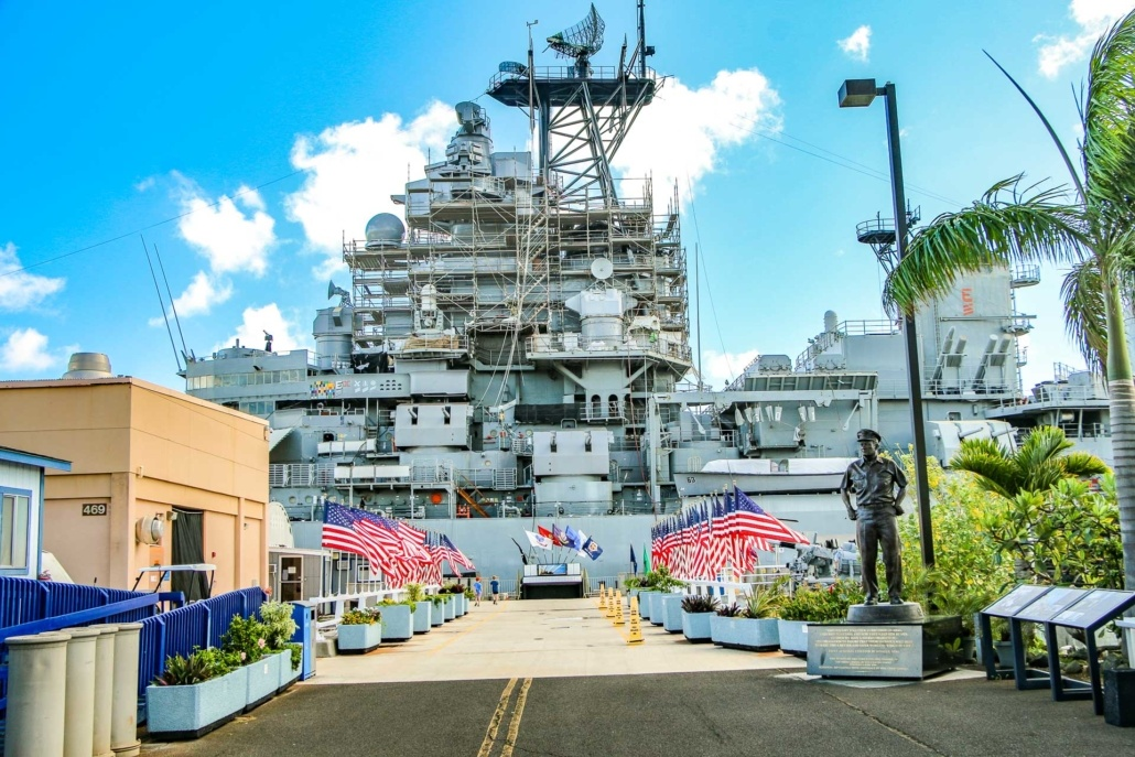 USS Missouri Entrance Nimtz Statue and Flags