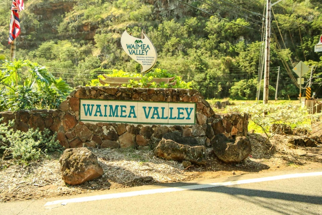Waimea Valley Sign North Shore Oahu