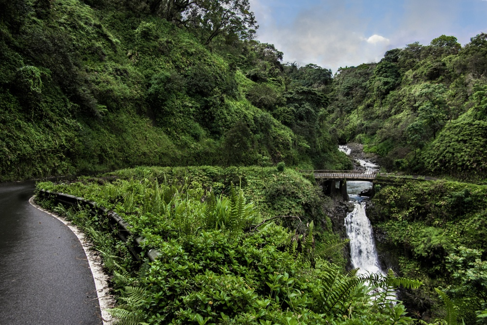 Road to Hana with waterfall