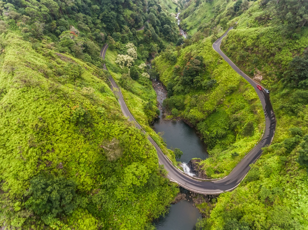 Aerial view of curve Road to Hana