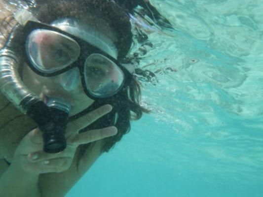 Hanauma Bay Snorkel Girl peace