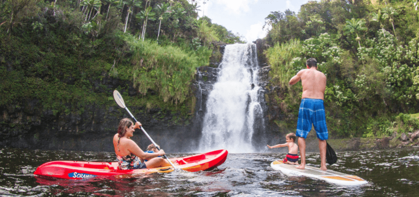 Hilo Tropical waterfall Kayak family