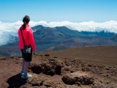 Haleakal Crater Maui Hawaii Hike Woman