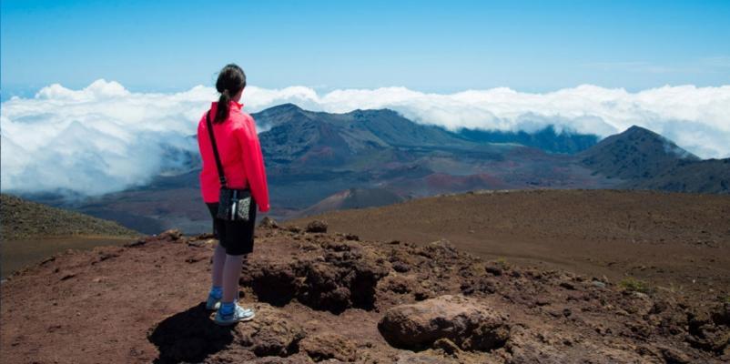 Haleakal Crater Maui Hawaii Hike Woman