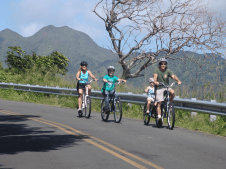 Oahu Waterfall And Family Bike Riding