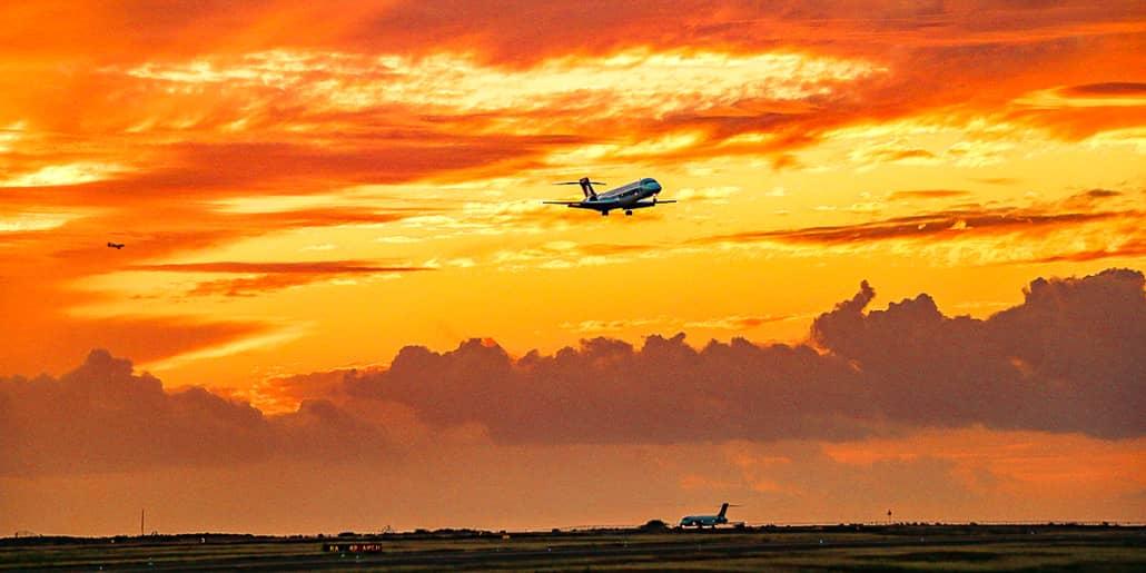 Airport Sunset Plane