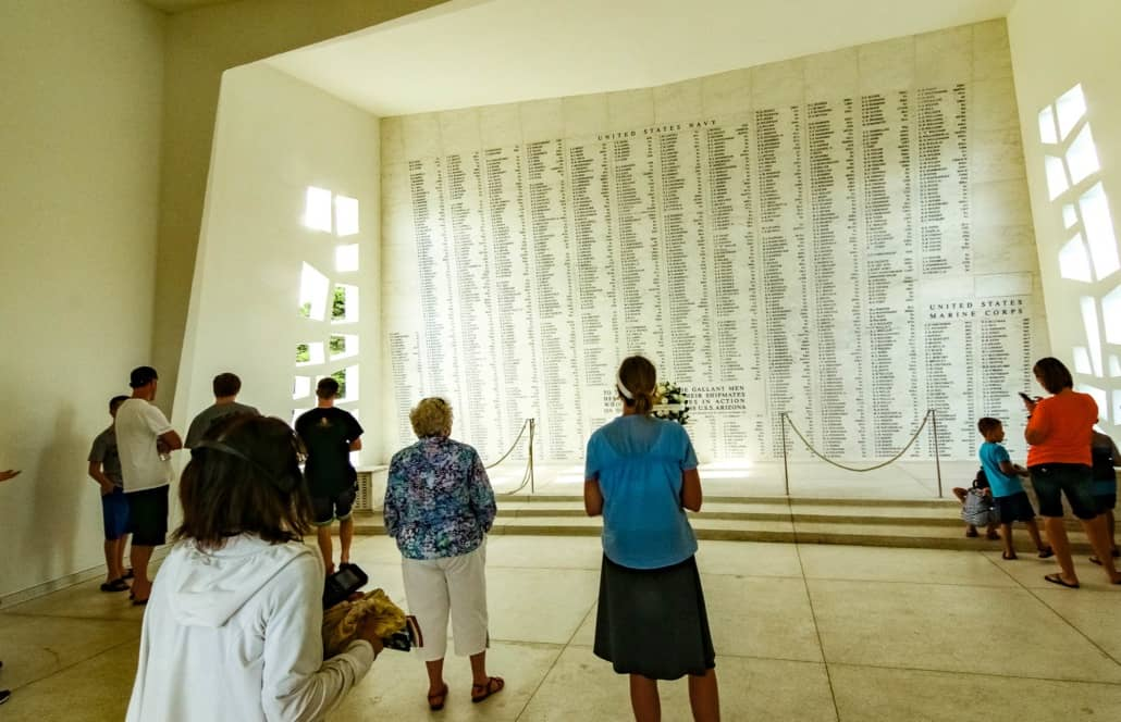 Arizona Memorial Marble Wall of Remembrance Visitors Pearl Harbor Oahu