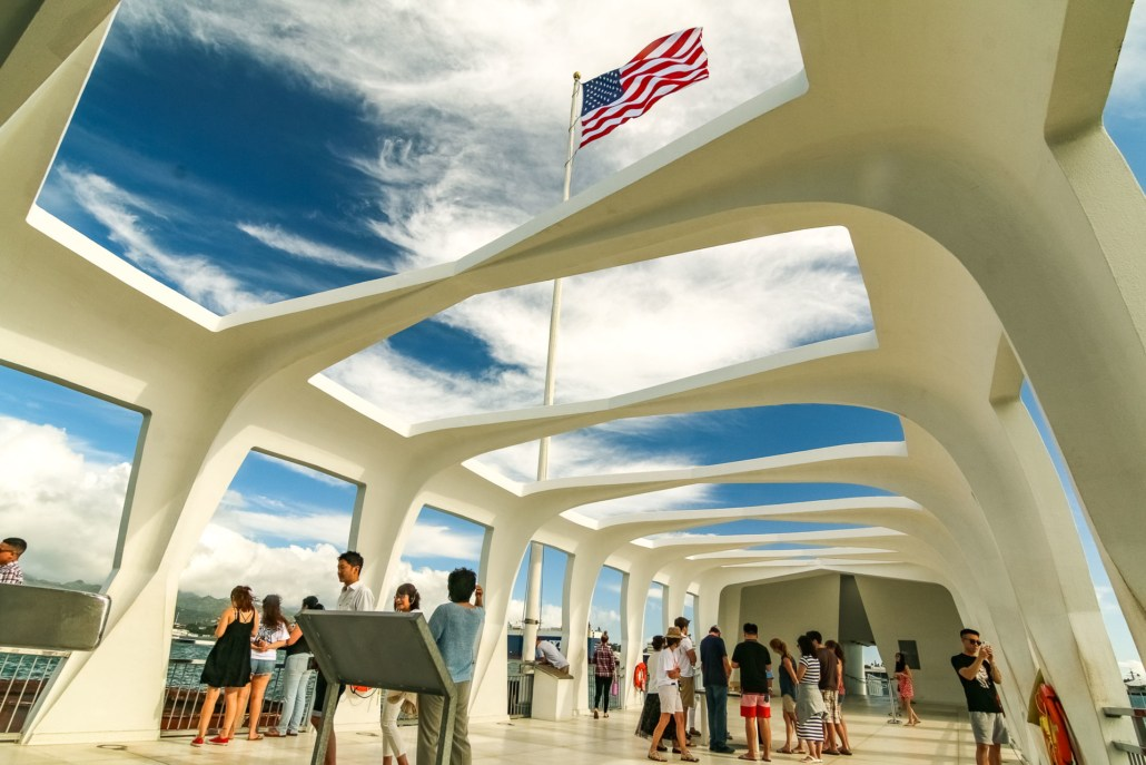 Arizona Memorial Visitors and Flag Pearl Harbor Oahu