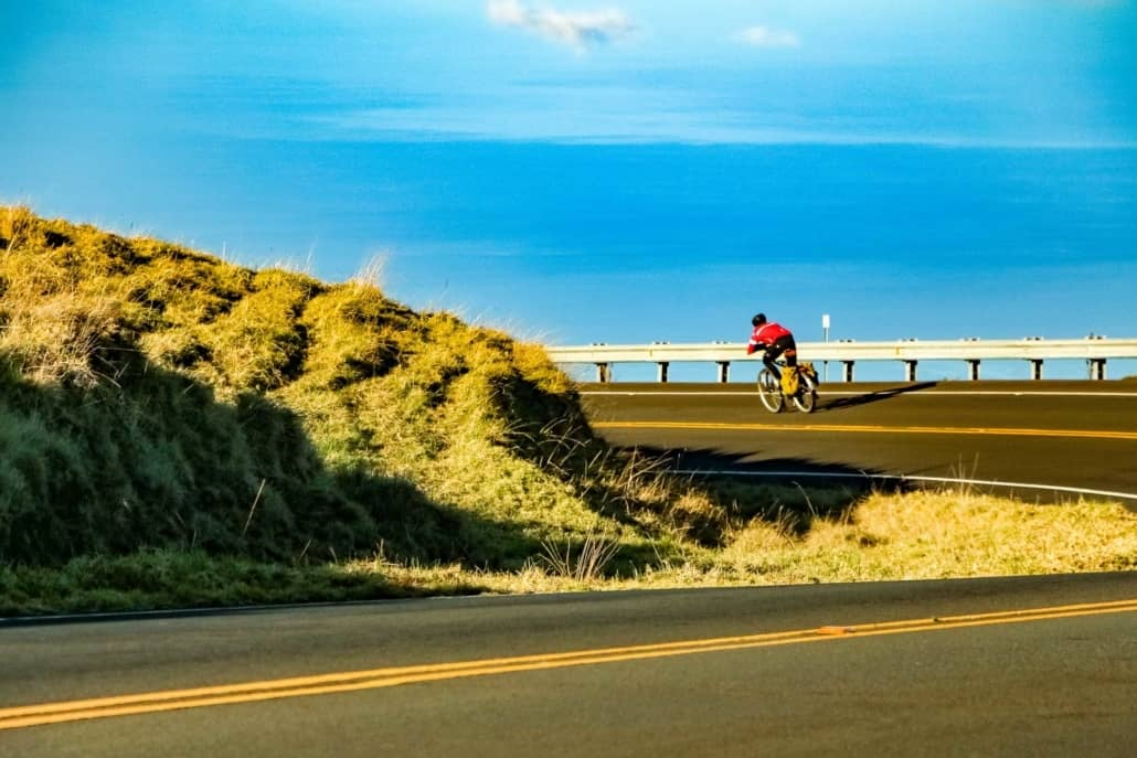 Bike Rider on Crater Road Haleakala Maui