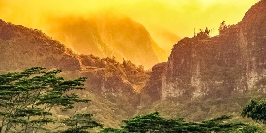 Cliffs at Nuuanu Sunset