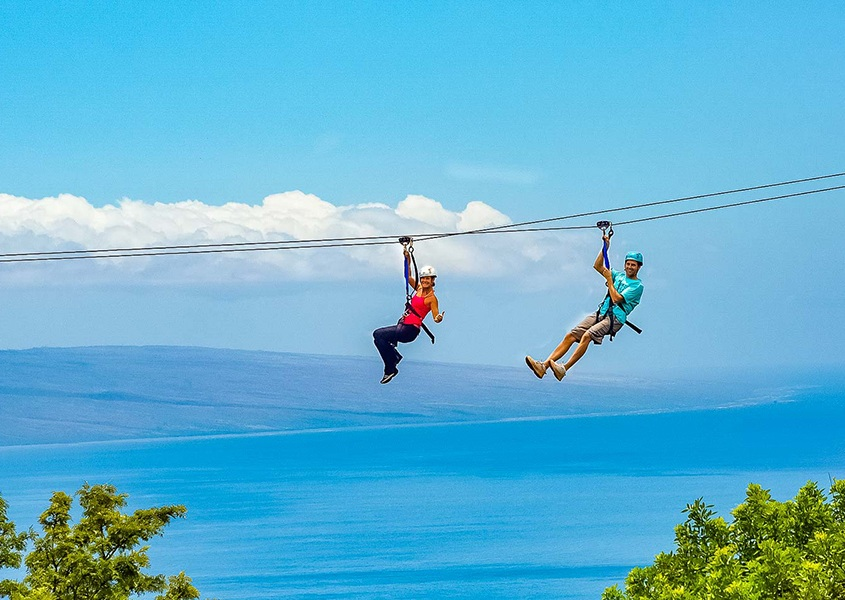 Couple on Kaanapali Zipline