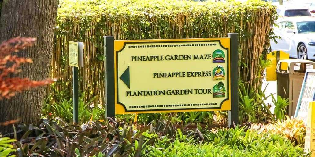 Dole Plantation Activities Sign