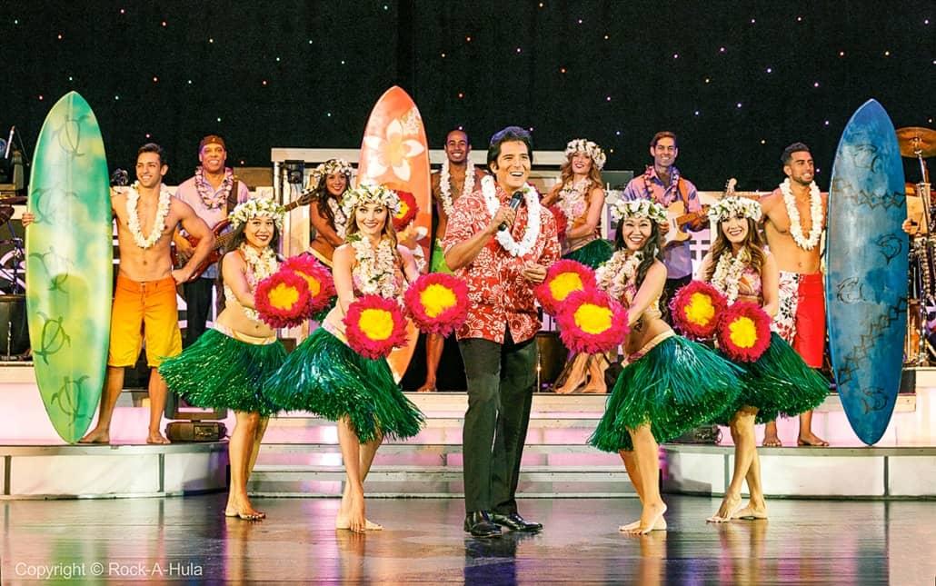 Elvis Show and Dancers Hula Star of Honolulu Paradise Cruises Image