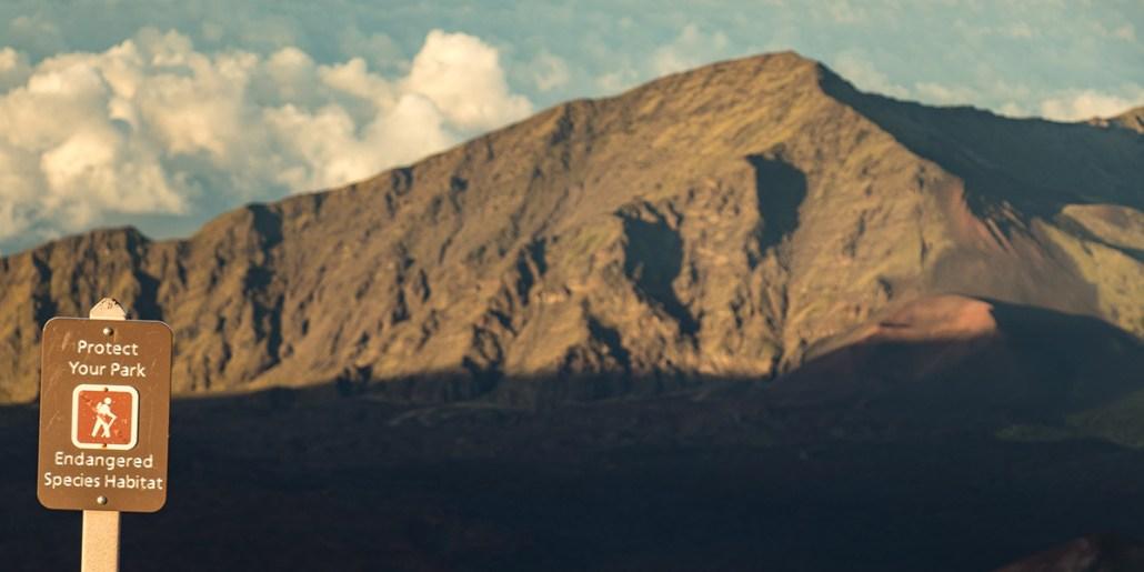 Haleakala Crater Protect Park Sign at Sunset