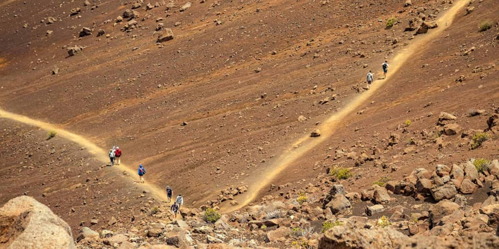 Haleakala Crater Sliding Sands Trails Hikers