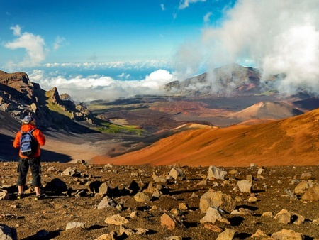 Haleakala Crater Summit and Hiker Shutterstock