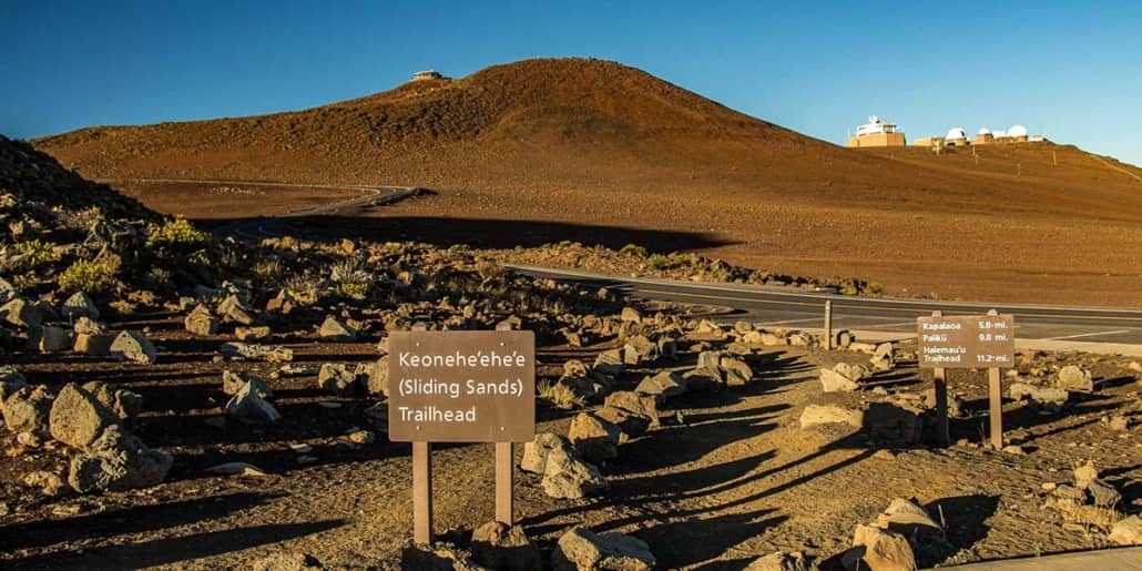 Haleakala Summit Hiking Trails Signs