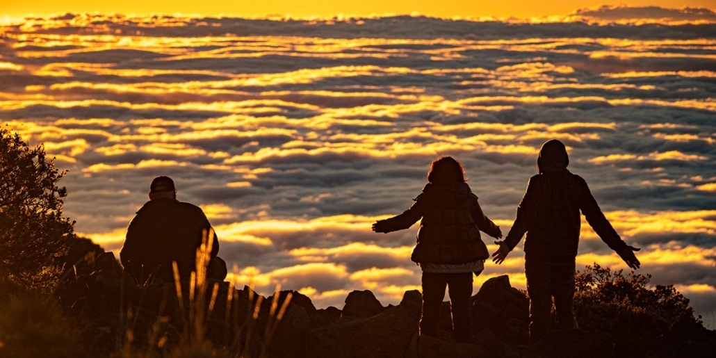 Haleakala Sunrise Clouds Visitors Arms Outstretched