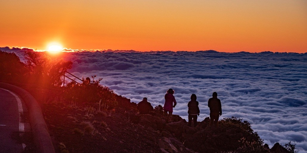 Haleakala Sunrise Visitors Overlook and Clouds EX