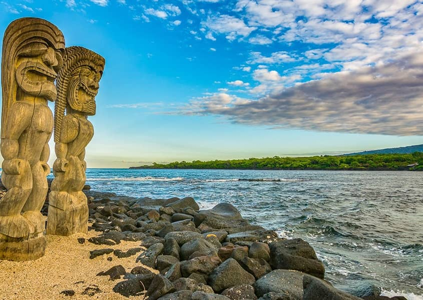 Historic Kona Side Tiki on Beach Big Island