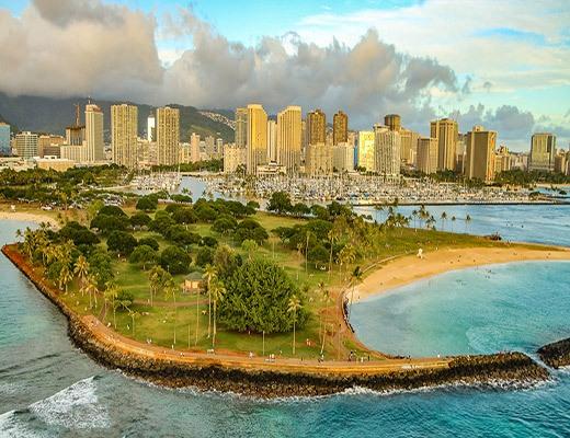 Honolulu Aerial Magic Island and Ala Wai Harbor