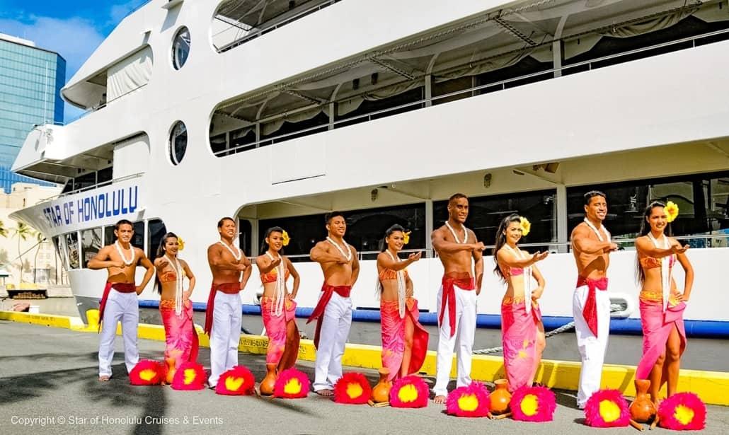 Hula Greeters at Harbor Star of Honolulu Paradise Cruises Image
