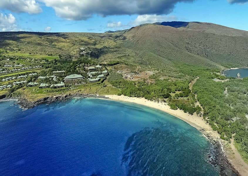 Manele Bay Hotel Beach and Harbor Aerial Lanai shutterstock