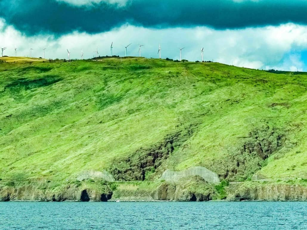 Maui Pali Coastline Coral Gardens and Windmills from Boat