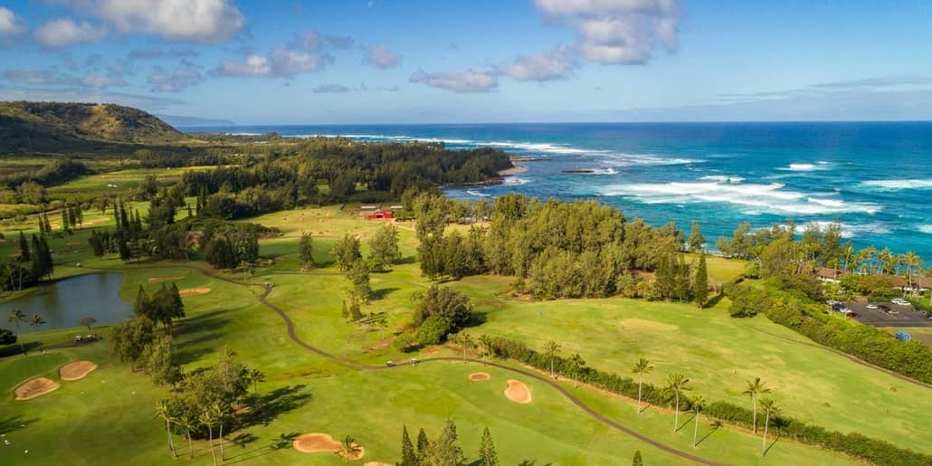 North Shore Oahu Turtle Bay Golf Course Aerial shutterstock
