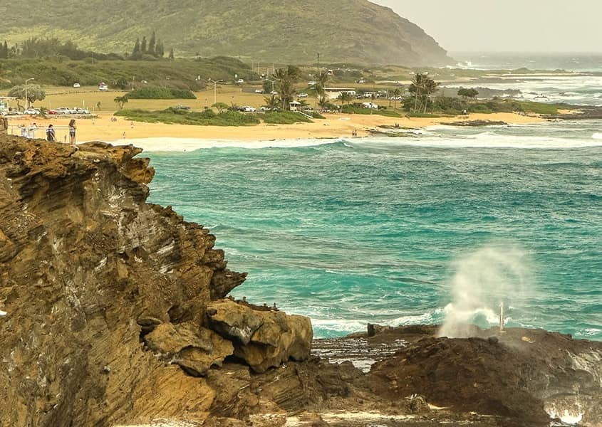 Oahu Blowhole Overlook with Sandy Beach