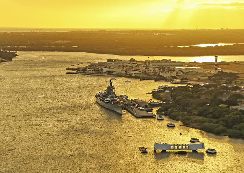 Pearl Harbor Sunset Areal Helicopter Missouri and Arizona 1200x600