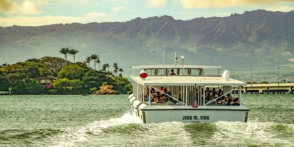 Pearl Harbor Tour Tender Boat in Harbor