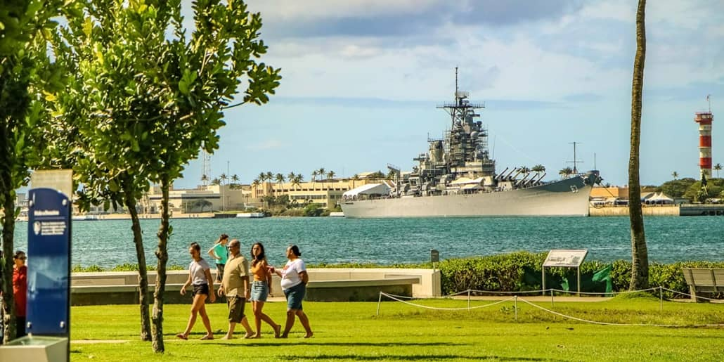 Pearl Harbor Visitor Center Grounds USS Missouri in Background 1200x600