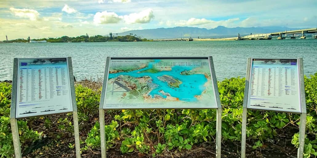 Pearl Harbor Visitor Center Outside Plaque of Harbor 1200x600